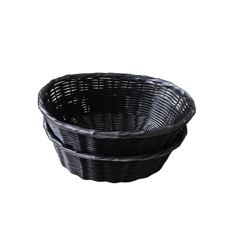 round type PP rattan fruit and bread basket for display