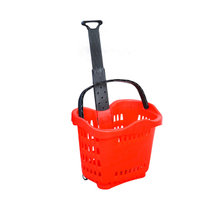 supermarket rolling shopping basket